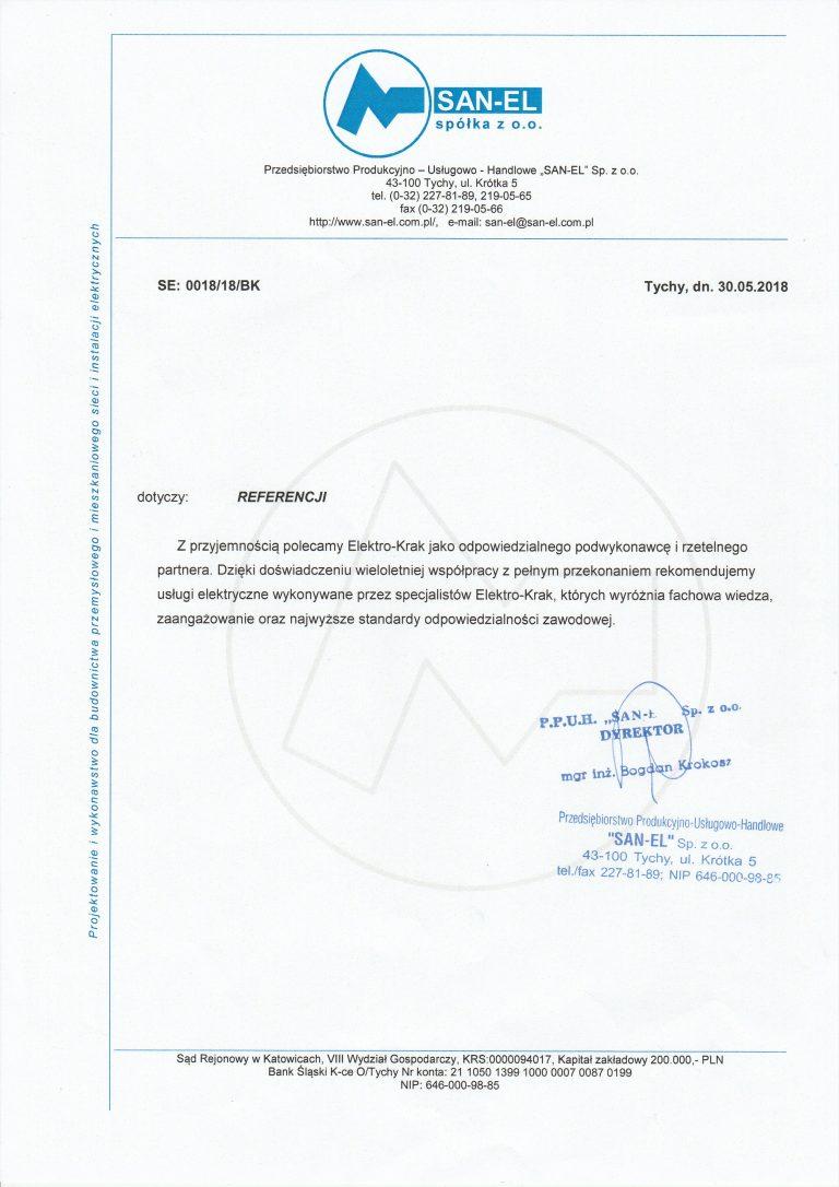 referencje dla firmy elektrycznej ELEKTRO-KRAK
